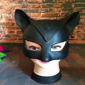 Großhandel Top Qualität Schwarze Catwoman Maske Kopfbedeckungen Half Face Latex Maske Halloween Party Maske Dame Beliebte Cosplay Kostüm Latex Tier Masken