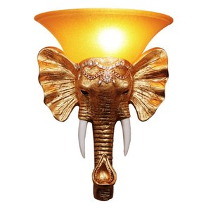 Antique Resin Gold Elephant Stairs Case Lámparas de pared Creative Bedroom Bedside Living Room Luces de pared Pasillo Pasillo Pasillo Apliques de pared