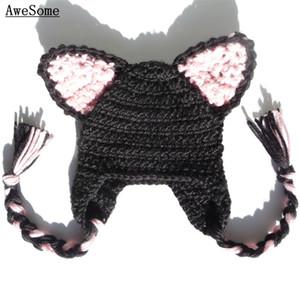 أسود القط earflap قبعة ، اليدوية حك الكروشيه بيبي بوي فتاة آذان هريرة الحيوان قبعة ، kawaii أنيمي زي ، هالوين زي ، الرضع صور الدعامة
