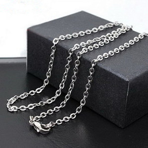 Joyería de la manera mujeres de los hombres de acero inoxidable cadena 50cm O Cadena pendiente apto DIY collar libremente al por mayor