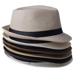 Al por mayor-2016 Moda Unisex Summer Straw Men's Fedora Sun Sombreros Trilby Gangster Cap Sunhat Beach Sun Straw Panama Hat con Ribbow Band
