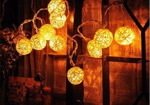 4 M 20 LED Rattan Top Fener Sepak takraw Dize Peri Işık Yeni Yıl Noel Tatili Parti Dekorasyon için Garlands Dekorasyon110 V-240 V