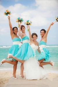 Ice Blue 2016 Semplice economici abiti da damigella d'onore Beach Summer Short Mini Chiffon con telai bianchi Festa di nozze Maid Of Honor Gowns Under 100