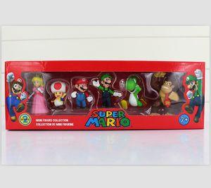 Super Mario Bros Luigi Esel Kong Pfirsich Action-Figuren 6pcs / set Yoshi Mario Abbildung Geschenk
