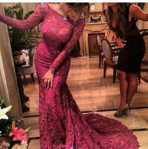 Meerjungfrau Abendkleider 2017 Arabien Burgund Bateau Neck Long Sleeves Illusion Volle Spitze Appliques Perlen Kristall Party Kleid Abendkleider