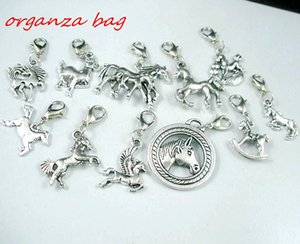 MIC 110 Pcs Antique silver Alloy Mix Cheval Charme Pendentif Et Homard Claw Clasp Bijoux DIY