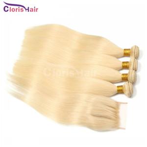 Paquete de pelo recto de seda virgen brasileño 3 paquetes con cierre barato # 613 Platinum rubio extensiones de cabello humano con ciertos de encaje superior 4x4