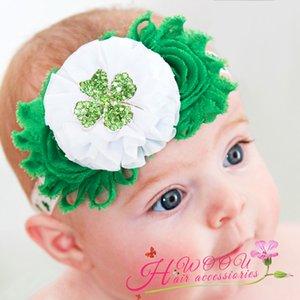 Dia doce do St. Patrick do bebê cabeça verde Trevo de quatro folhas headband Faixa de Cabelo com flor bonito