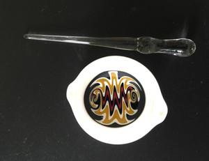 Seramik Çanak Ve Cam İğne İpuçları Konsantre Sanat Seramik Balmumu Bulaşık Konteynerler Dabber Aracı Set Cam Yağı Rig Seti Sigara Aksesuarları