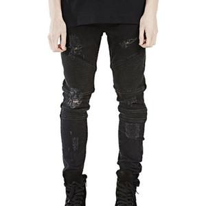 Mens Skinny Jeans Men 2016 Runway Afligido Slim Fit Jeans Elastic Denim Motociclista Rasgado Rider Motocicleta Moto Hiphop Calças Lavadas