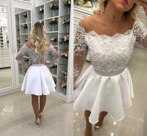 Little White Fuori dalla spalla Sheer Long Sleeves Short Homecoming Dresses 2018 Vintage A Line Short Cocktail Party Wear BA6958