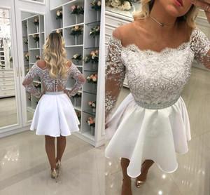Little White Off the Shoulder Sheer manches longues courtes robes de retour 2018 Vintage Une ligne Short Cocktail Wear Wear BA6958