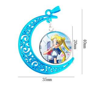 Toptan Sıcak mavi ay kolye Cam Kubbe Mercury Yıldız Güç Sailor Moon Takı Kolye Kız Kolye Cam Cabochon