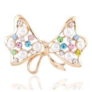 Cute Big Bow Down Collar Flower Brooch Imitazione di perle Exquisite pearl intarsio Accessori per la ragazza