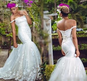 African Off Shoulder Wedding Dresses Lace Applique Mermaid Garden Bridal Gowns Tulle Floor Length Zipper Back Wedding Dresses 2017