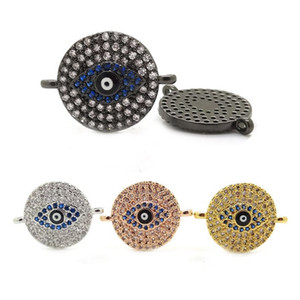 Jewelry Connector Beads With Micro Pave Blue & White Cubic Zirconia Evil Eye Beads Charm Pendant For Islamic Hamsa Jewelry Making 10mm*20mm