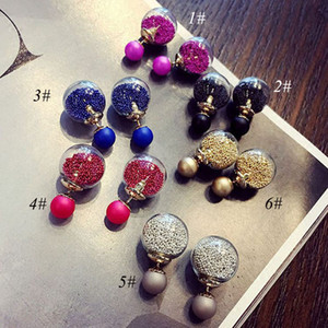Las mujeres desean la bola de arena, antes y después del tipo de pendientes de temperamento salvaje de cristal, pendientes de joyería de moda de alta calidad de las mujeres