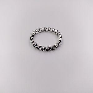 Autentico Argento 925 anelli Openwork Linked Amore Anello Adatto europea di stile Pandora Jewelry 190.980