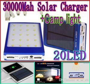 Kamp LED aydınlatma SOS fonksiyonu Harici Akü İçin Cep Telefonu ipad 2 açık USB bağlantı noktaları solar şarj ışıkları 30000mah Güneş Enerjisi banka