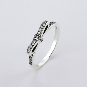 Fine jewelry 925 Anelli in argento sterling con donne Wedding Party Clear Fashion Anelli CZ Bow Ring Fit amore Pandora