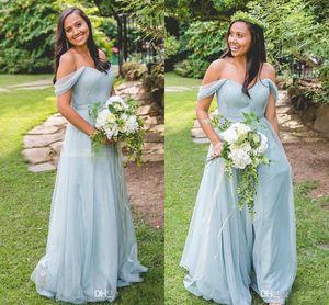 2018 Günstige Light Blue A Linie Brautjungfernkleider Off-Shoulder ärmellose Zipper Empire Chiffon bodenlangen Country Wedding Party Guest Kleider