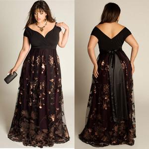 Barato Plus size vestidos de noite mangas a-linha fora do ombro vestido formal lantejoulas apliques piso-comprimento especial ocasião vestidos