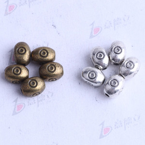 oval with bot Spacer bead charm 750pcs lot 7.4*5.4mm antique silver bronze Zinc Alloy for DIY pendant Jewelry Making Accessories 2544