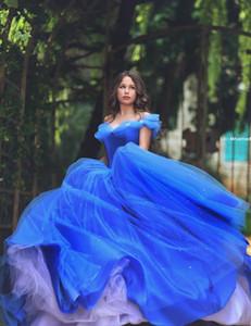 2018 놀라운 로얄 블루 Organza 볼 가운 신데렐라 Quinceanera 드레스 2016 골치 아픈 바닥 길이 스위트 16 년 미완성 가운 QC63