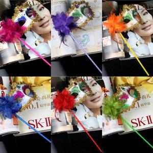Kadın Parti Boyalı Masquerade Maskeleri Cadılar Bayramı Çiçek Tarafı ile Bir Gem Venedik Karnaval Parti Maske Sopa Performans Gösterisi Yüz Maskesi