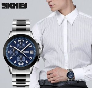Men Multifunction 6 Pins Quartz Business Wrist Watch 3 ATM Stainless steel strap watches 9126