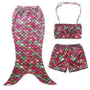 Prettybaby дети девушки бикини купальник масштаб шаблон холтер шеи топ + брюки + русалка хвост 3 шт. набор костюмы купальник одежда Pt0393# mi