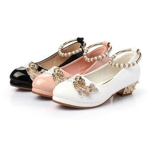 CRIANÇAS Sapatos Novos Vogue Pérolas Flor Cristal Rebites Crianças Pu Shoe Girl Low Saltos Meninas Princesa Sapatos