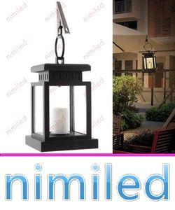 nimi1045 Vintage Solar Powered Lamp impermeabile appeso lanterna a lume di candela LED con morsetto Beach Umbrella Tree Garden Yard Lawn Lighting
