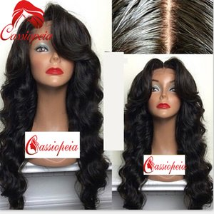 Body Wave Full Lace Wig with Side Bangs Brazilian Human Hair Front Lace Wavy Wigs For Black Women Free Shipping