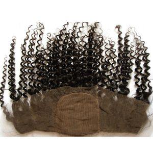 """Cheap Silk Base Lace Frontal 13x4 con el pelo del bebé 8-24 """"Kinky rizado Virgen Indian Hair Base de seda Cierre frontal del cordón Nudos blanqueados"""