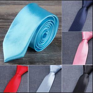 HOT Solid necktie 50 Colors 145*5cm Men's neck tie Narrow version NeckTie Leisure Arrow Necktie Skinny Solid Color Tie Free FedEx