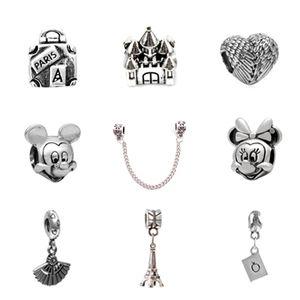 10 stücke von jedem charme perle micky federbad schloss legierung anhänger 925 versilbert mode frauen schmuck europäischen stil für pandora armband