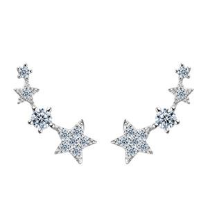 en iyi hediye gerçek 925 ayar gümüş altın ve beyaz altın kaplama küpe moda yıldızı earings gül kızlar için tasarımlar