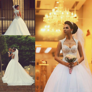 2017 Vinatge Ball Gown Wedding Dresses Cap Sleeves Sweetheart Beaded Lace Appliqued Tulle Bridal Gowns Sweep Train Said Mhamad BO7186