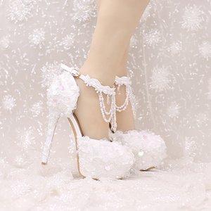 Nouveau Design Cheville Sangle Talons Blanc Et Rouge Dentelle Robe De Mariée Chaussures Belle Perles Bretelles De Mariage Chaussures Femmes Parti Prom Pompes