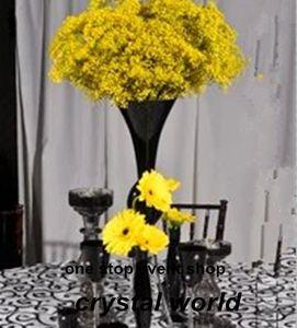 black cylinder glass flower trumpte vase for decoration or gift
