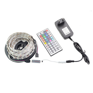 High Bright 5M 300Led 5050 RGB Led Strip Non-waterproof Color Changing Led Flexible Strips Kit + 44 Keys Remote Controller + DC 12V 3A Power