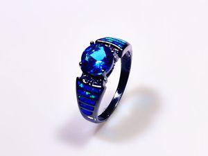 Venta al por mayor al por menor de moda Fine Blue Fire anillos de ópalo con azul Zirconia cúbica 10KT Gold Gold Filled RMF16032604