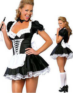 All'ingrosso-Servo donne Cosplay Spedizione gratuita in bianco e nero Party Halloween Fancy Dress ML5034 Manica corta Sexy costumi cameriera francese