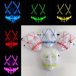 Novo Led Halloween Máscaras Fantasma The Purge Filme EL Fio Máscaras de Máscaras de Máscaras Máscaras de Halloween Máscara de Fulgor Cheio de Presente Do Partido WX9-57