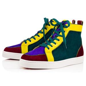 فاخر حزب اللباس للمرأة ، أحذية رجالية المشي شقة ، موضة أحذية أسفل أحمر أحذية عالية جلد الغزال أعلى عارضة أحذية 35-46