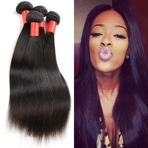 3/4 번들 브라질 머리카락 말레이시아 말레이시아 페루 몽골어 캄보디아 인디언 처리되지 않은 스트레이트 인간의 머리카락 묶음 최고의 품질의 머리카락