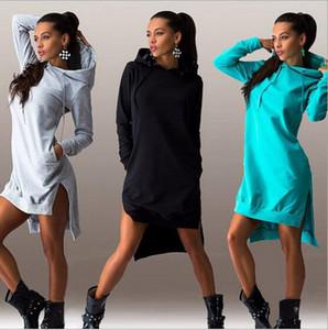 Femmes hoodies Plus La Taille Vêtements À Capuche Pullover 2016 Nouvelles Femmes Sweat À Capuche Sweatshirts De Mode Irrégulier À Manches Longues Pull À Capuche Dress