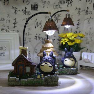 Новая Мода Ремесло Смолы Тоторо Night Light СВЕТОДИОДНЫЕ Настольные Лампы Прикроватные Ночники Для Детей Подарок На День Рождения светодиоды Кровать Номер Декор