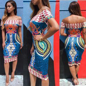 Summer Femmes Traditionnel African Imprimer Sexy Manches courtes à l'épaule Dashiki Robe moulante Juin 9 Amazing